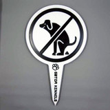 White no dog poop image yard sign made from HDPE plastic.