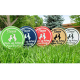 Please pick up after your dog image yard sign made from HDPE plastic in all available colors.