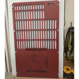 Kennel gate in custom burgundy color.