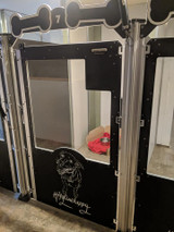 Hyline Hotel for Dog's Gator Kennel Signature Series kennels with their custom logo.
