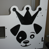 Custom logo on white full glass gates for iCare K9.