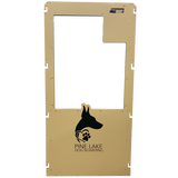 Pine Lake Dog Boarding's Gator Kennels gate in tan with custom logo.