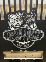 Dream-A-Bullz Gator Kennels custom dog kennel gate with logo.