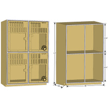 Double-Stack dog kennel for boarding dimensions.