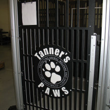 This project went to an animal rescue.  The kennels were sponsored through donations and the donors names are displayed above each kennel gate!