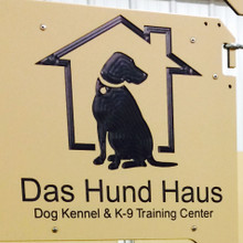 Das Hund Haus Logo engraved in the dog kennel gates.
