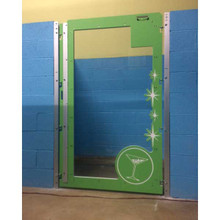 The Barker Lounge custom dog Kennel gates with glass in green.