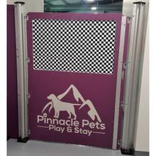 Pinnacle Pets custom dog kennel gate in purple.