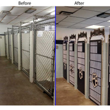 Before and after picture of kennel gate replacement.