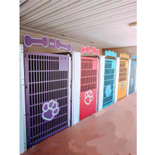 Mugus pet resort kennel gates.