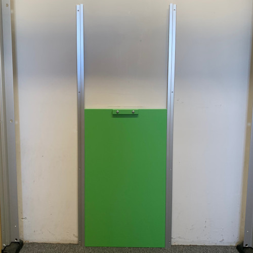 Lime Green Transfer Gate system showing gate and rails.