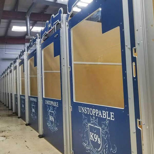 Unstoppable K9's Gator Kennels Signature Series in navy blue.