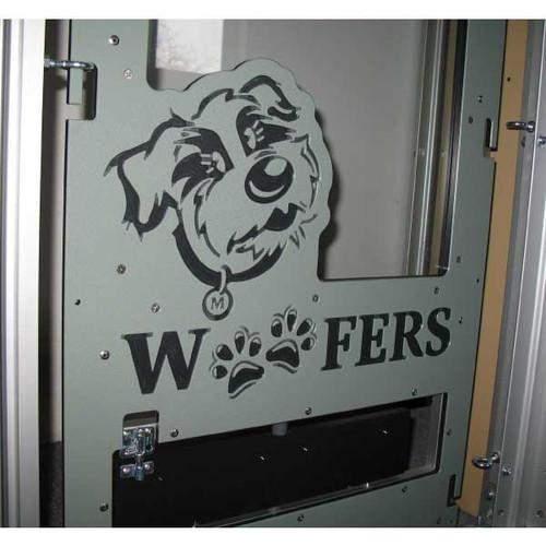Woofers' custom logo on their kennel gate.