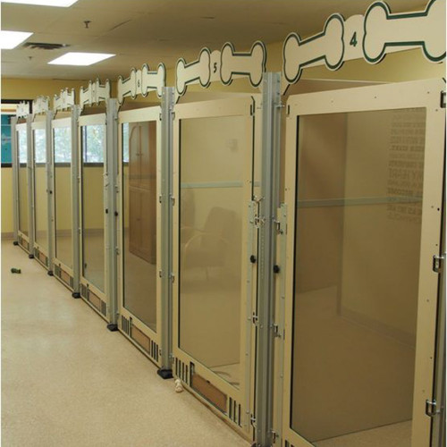 Custom  dog kennels with full glass gates.