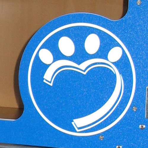 Humane Society of Lincoln County logo engraved on the cat cage gate.