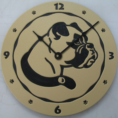 Boxer dog clock in tan.