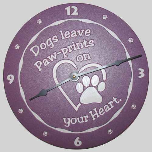 "Gator Kennels ""Dogs leave paw-prints on your heart"" customized clock. Accessories for dog kennels. Gator Gear."