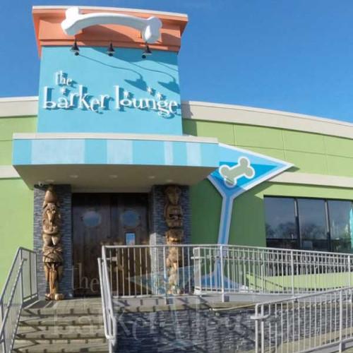 The Barker Lounge dog kennel front entrance.