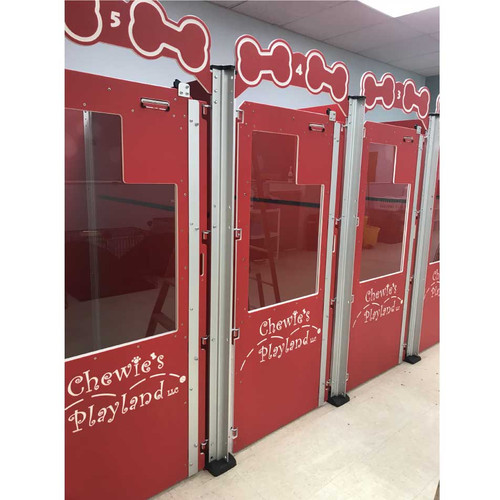 Chewie's Playland's custom red dog kennels.