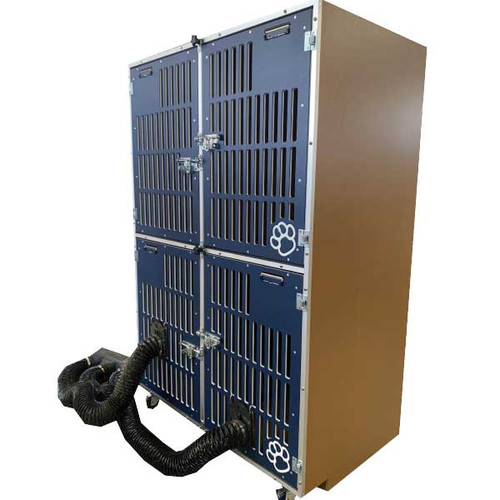 Gator Kennels Double Stack for Grooming, cage bank, side view with grooming hose attached.