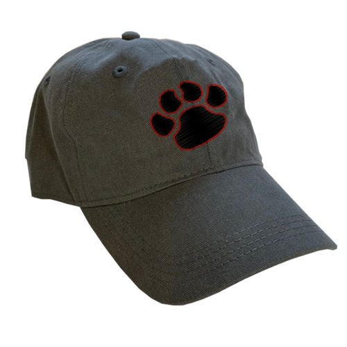 Grey hat with paw print outlined in rust orange thread. Gator Gear.