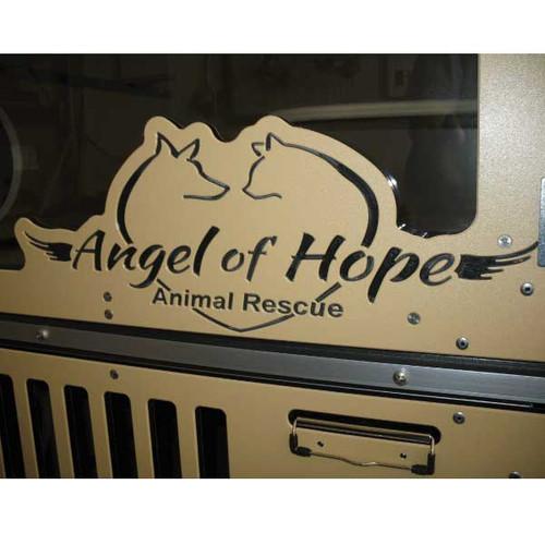 Angel of Hope Animal Rescue custom logo on Gator Kennels Cat-Hotel.