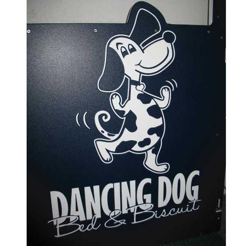 Dancing Dog Bed & Biscuit custom logo.