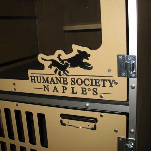Humane Society Naples custom logo on their Cat-Hotel gates.