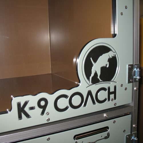 K-9 Coach custom logo on their Gator Kennels Double Stack for Boarding gates.