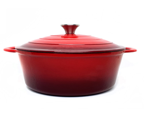 28cm Enamelled Oval Cast Iron Casserole - Red (OUT OF STOCK - ETA MAY)