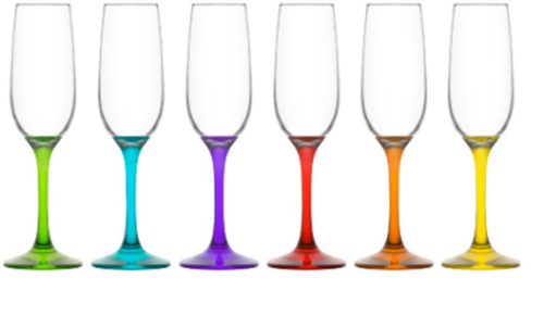 Ava Coloured 215ml Champagne Flute, Set of 6