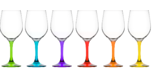 Ava Coloured 480ml Red Wine Glass, Set of 6