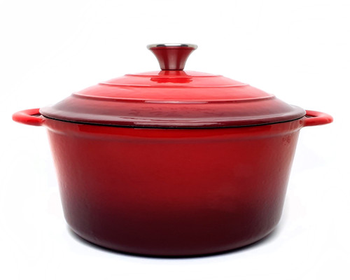 28cm Enamelled Round Cast Iron Casserole - Red