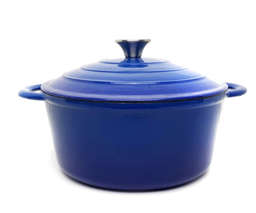 26cm Enamelled Round Cast Iron Casserole - Blue (OUT OF STOCK - ETA MAY)