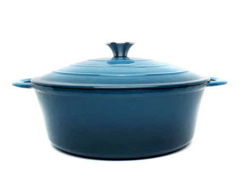 28cm Enamelled Oval Cast Iron Casserole - Sky Blue