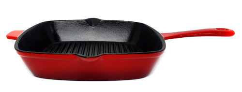 26cm Square Enamelled Cast Iron Grill - Red