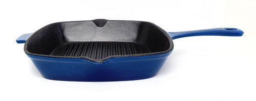 26cm Square Enamelled Cast Iron Grill - Blue (OUT OF STOCK - ETA MAY)