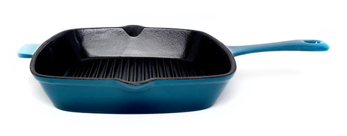 26cm Square Enamelled Cast Iron Grill - Sky Blue