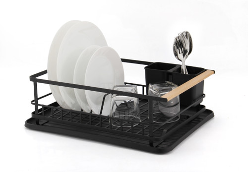 Ombra Black and Wood Dish Rack