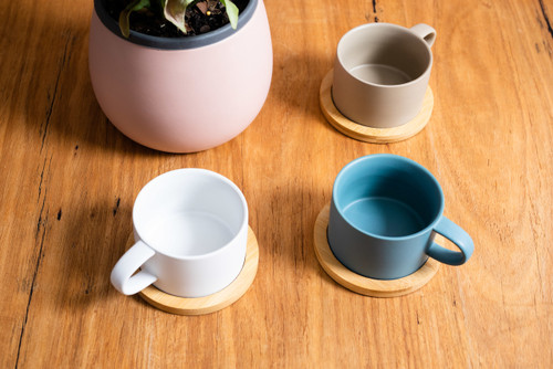 Matte Colour 200ml Coffee and Tea Cup with Coasters - Set of 4