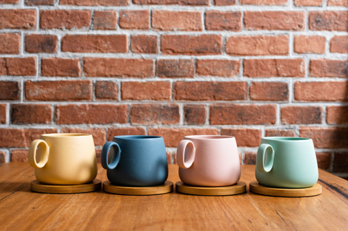 Matte Colour 250ml Coffee/Tea Cup with Coasters  - Set of 4