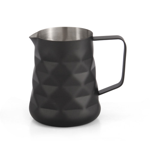 Matte Black Diamond Embossed 600ml Milk Frothing Jug