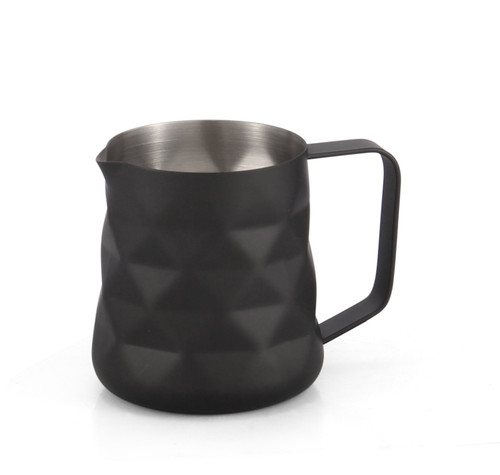 Matte Black Diamond Embossed 350ml Milk Frothing Jug