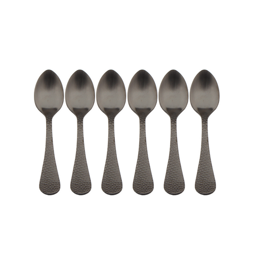 Satin Black Coffee Spoon - Set of 6