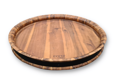 Wine Barrel Top Serving Tray/ Grazing Board Size:60X50X6CM Features: -Acacia with a black steel ring. -Made in Vietnam
