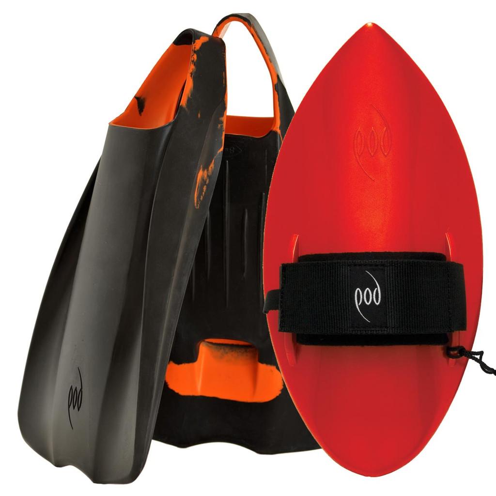 POD Fins PF1s Black/Orange - Red POD Handboard