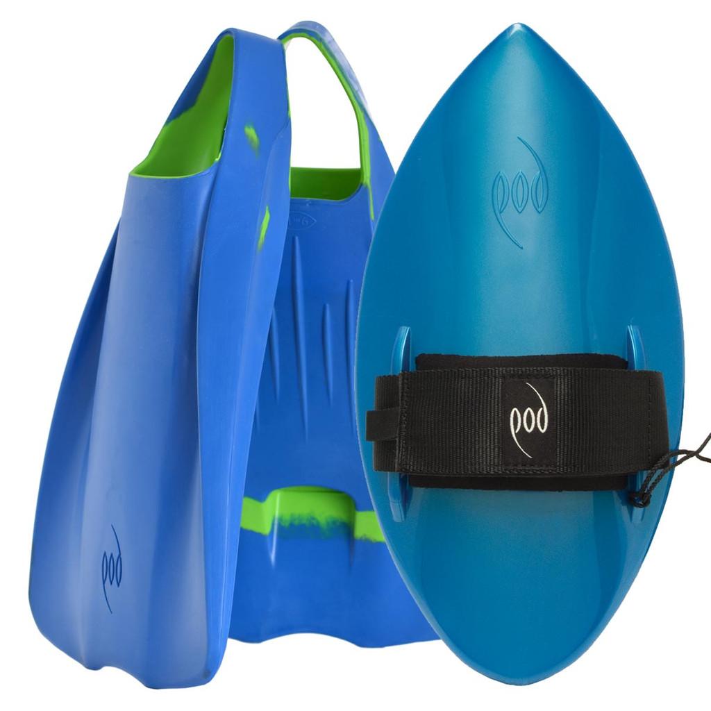 POD Fins PF1s Blue/Lime - Aqua/Blue POD Handboard