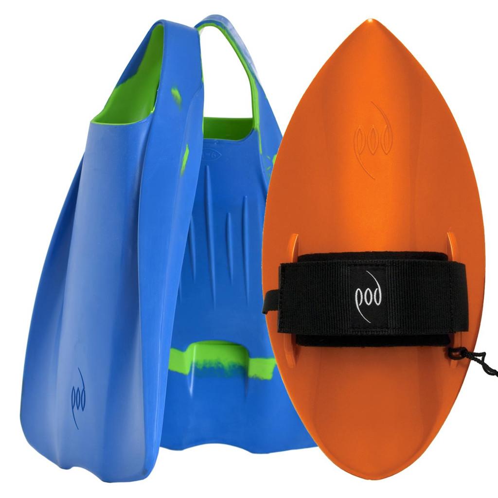 POD Fins PF1s Orange- Black/Blue POD Handboard