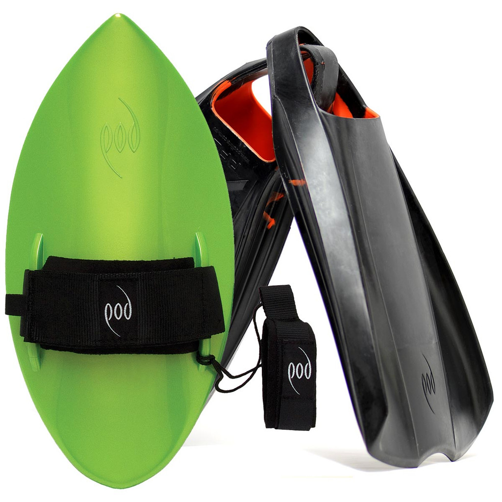 POD Fins PF2s Black/Orange - Lime POD Handboard