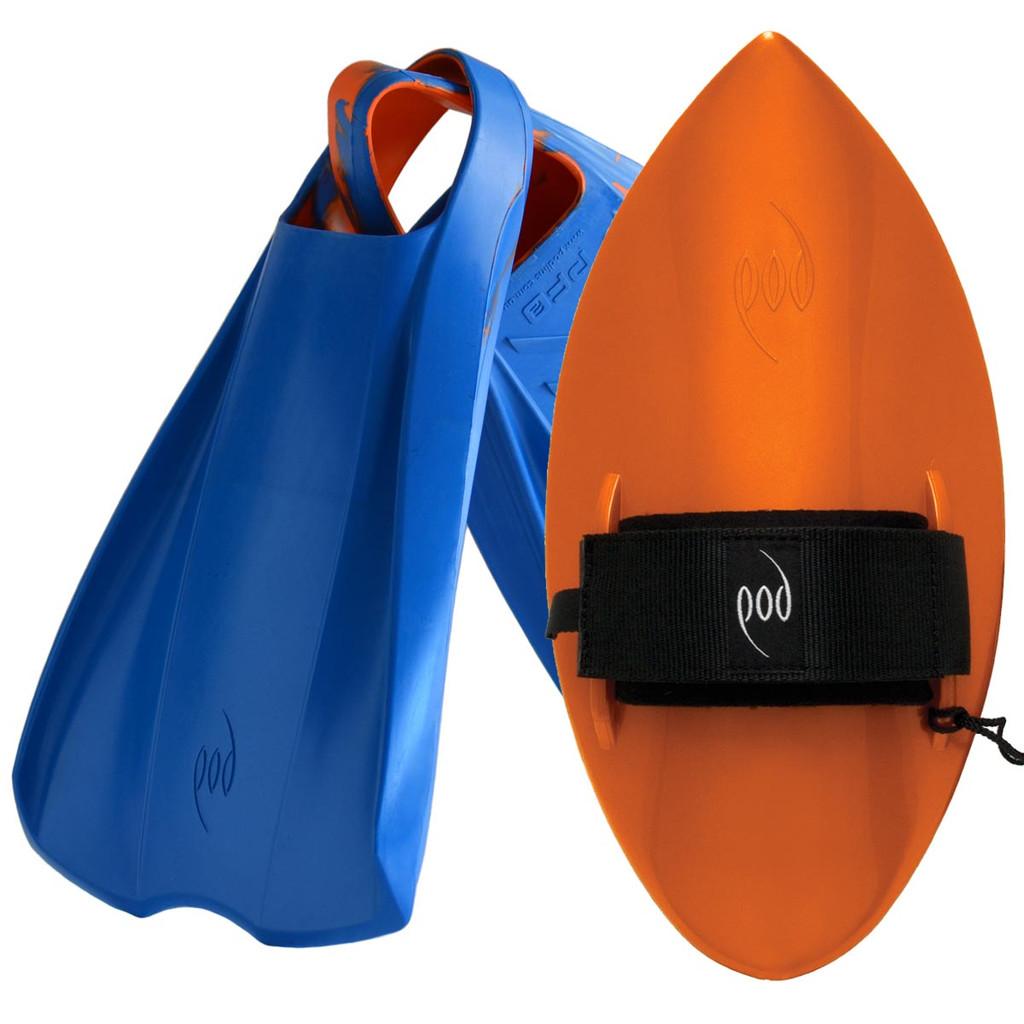 POD Fins PF2s Blue/Orange - Orange POD Handboard